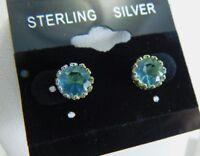 Sterling Silver Blue Gemstone Crown Set Stud Earrings 925 DG0073
