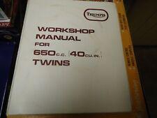 Vintage Triumph 650 Twins Factory Motorcycle WorkShop Manual With Vinyl Binder