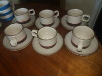 Vintage Denby 'Potters Wheel' Cups & Saucers  X 6