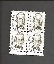 3 CENT HENRY CLAY SCOTT # 1846 BLOCK OF 4 MNH 1983 OLIVE HISTORICAL FIGURE