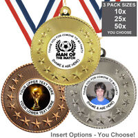 FOOTBALL BIRTHDAY PARTY METAL MEDALS 50mm, PACK OF 10 RIBBONS INSERTS OWN TEXT