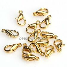100pcs Bulks Gold Silver Plated Lobster Parrot Clasp Charms Findings 10mm 12mm
