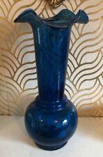 Gorgeous Large 33.5cm Blue Art Glass Vase