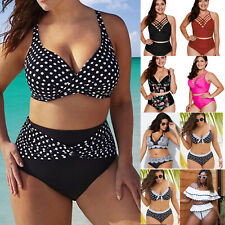 7bd7d75976 Plus Size Womens High Waist Bikini Set Swimsuit Two Pieces Swimwear  Beachwear