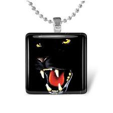 BLACK PANTHER CAT Leopard Puma Glass Tile Pendant Necklace