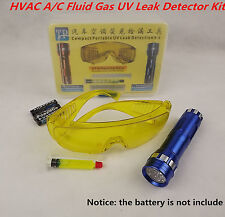 Leak Detector A/C Fluid Gas 14 LED Flash Light & Safety Glasses UV Detection Kit