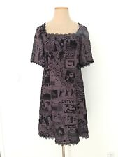HYSTERICS chiffon film empire waist purple mini shift cocktail dress women XS 2