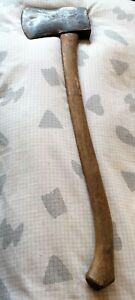 VINTAGE AXE / HATCHET & HICKORY AXE HANDLE - OLD AXE MAN-CAVE - LARGE HEWING AXE