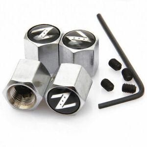 For 370 350 Z Emblem Anti-Theft Silver Car Tire Wheel Air Valve Caps Stem Cover