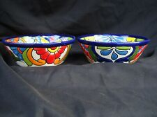 2pc Talavera Bowls Set Soup Cereal Salsa Kitchen Mexican Pottery Folk Art 7.5""