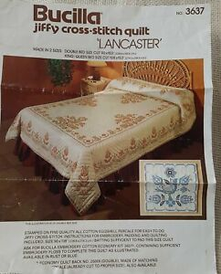 """Vtg Bucilla """"Lancaster"""" #3637 Quilt top to be Cross Stitched & Quilted 90""""x103"""""""