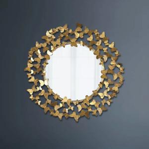 Metal Big Gold Foil Butterfly Vintage Greek Wall Art Deco Round Gubi Mirror