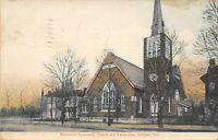 Sullivan Indiana~Methodist Episcopal ME Church & Parsonage~1908 Postcard