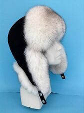 Natural Blue Fox Fur Ushanka Hat With Suede Saga Furs Regular Men's Size Hat