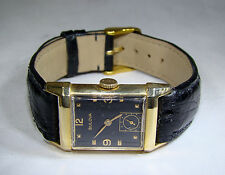 BULOVA (1951) RARE 14kt SOLID GOLD BEVELED WRISTWATCH, SEPARATE SECOND HAND DIAL
