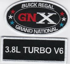 2 BUICK REGAL GRAND NATIONAL SEW/IRON ON PATCH EMBLEM EMBROIDERED 3.8L TURBO V6