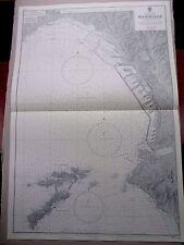 """1969 Marsiglia Francia-Nautico Mare Mappa con grafici di navigazione 28"""" x 41"""" B74"""