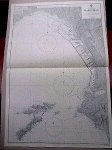 "1969 MARSEILLE FRANCE - Nautical Sea Navigation Chart MAP 28"" x 41"" B74"