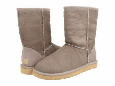 UGG CLASSIC SHORT CALF HAIR SCALES Brown Oyster Fur Leather Winter Boots 8 NEW