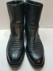 DOUBLE H HH 1712 Western Zipper Boots Size 9 . EEE Black Leather