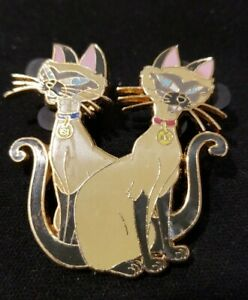 Disney Pin 54468 Si & Am  Siamese Cats Lady and the Tramp collar name tag
