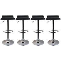 Black Adjustable Height Set of 4 Bar Stools Pub Dining Swivel Chair PU Leather