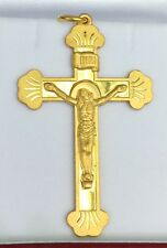 24k Solid Yellow Gold Cute Big Heavy Jesus Cross Charm/ Pendant. 20.70Grams