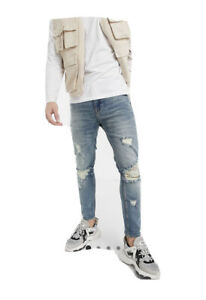 Asos Design Mens Cropped Skinny Jeans With Deep Rips
