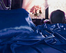 Queen 4 Pcs Satin Lingerie Bedding Sheet Set Navy/Blue