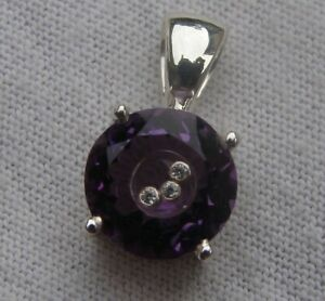 Genuine Amethyst 10mm Round Sterling Silver Floating Diamonds Pendant New