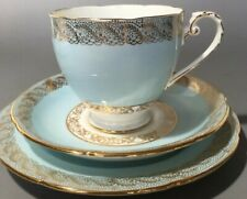 Vintage Royal Grafton Trio Cup Saucer and Plate In Eggshell Blue and Gold