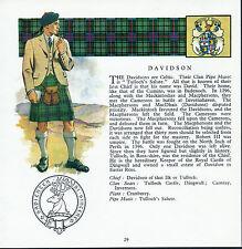 Print SCOTTISH Clan DAVIDSON History Genealogy Tartan Coat of Arms * Gift Matted