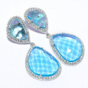 Blue Topaz & Cubic Zircon Handmade 925 Sterling Silver Jewelry Earring  VIE-1198