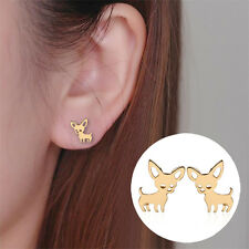 Women's Fashion Jewelry Rose Gold Studs Earrings Chihuahua 41-3