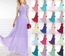 New Lace Long Chiffon Formal Prom Party Ball Bridesmaid Evening Dress Size 6--18