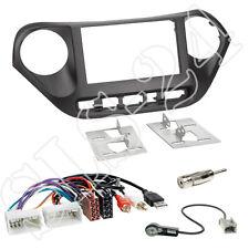 Hyundai i10 ab2013 doble DIN radio diafragma + ISO (USB AUX) adaptador + conector antena