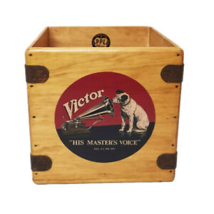 "Victor Record Box 7"" Single Vintage Wooden Crate Retro Vinyl Nipper"