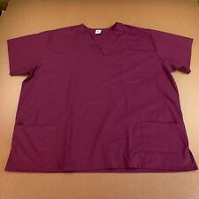 Strictly Scrubs Unisex Adult Plus Size 3X Mulberry Short Sleeve V Neck Scrub Top