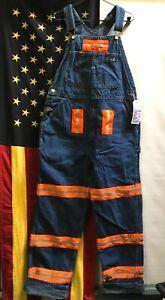 Aramark Bib Orange reflective tape Overalls Carpenter pants W38 L33