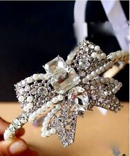 STUNNING Gem and Pearls with Bows Headband Tiara Hair Jewelry