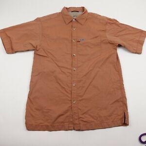 Columbia Titanium Button Up Vented Shirt Adult Medium Orange Short Sleeve Mens
