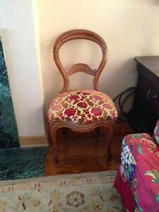 Victorian occasional chair, 1800-1899, Cherry Wood, EUC, US, vanity chair