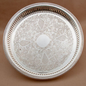 """Vtg Reticulated Unmarked Small Round Silver Plate? Footed Butlers Tray 13"""""""