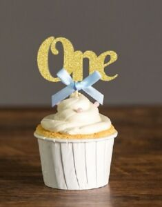 """Baby's 1st Birthday Cupcake Toppers - """"One"""" (Pack of 12) - Blue"""