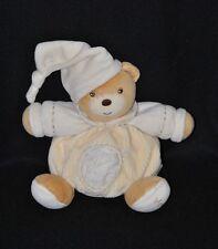 Peluche doudou ours brun boule KALOO pure beige blanc feuille brodée  18 cm TTBE