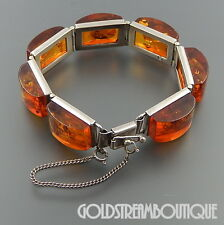 VINTAGE STERLING SILVER BALTIC HONEY AMBER HINGED WIDE BRACELET 7""