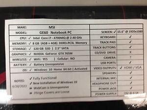 MSI GE60 NoteBook PC *Functional* i7/8GB/WIN 10/BATT & CHRG