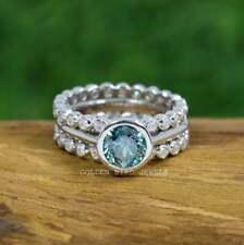 Green Round Moissanite Bridal Ring Set / Bezel Set Wedding Ring For Gift