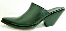 Mule shoes sharp toe real leather stacked leather soles and heels.made to order.