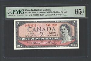 Canada 2 Dollars 1954 BC-38d Uncirculated Grade 65